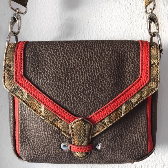 Paquetage Handbags - PAQUETAGE SNAKESKIN BROWN RED BAG CROSSBODY PURSE